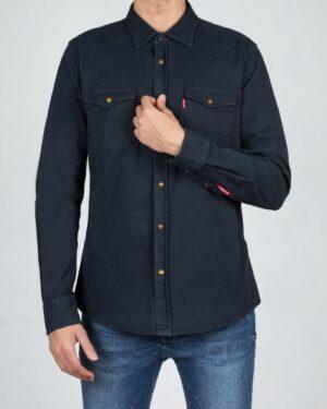 پیراهن مردانه کتان آستین بلند - سرمه ای تیره - رو به رو
