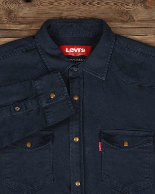 پیراهن مردانه کتان آستین بلند - سرمه ای تیره - یقه مردانه و جیب ها