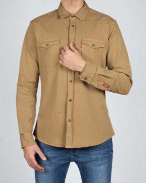 پیراهن مردانه کتان آستین بلند - کرمی سیر - رو به رو