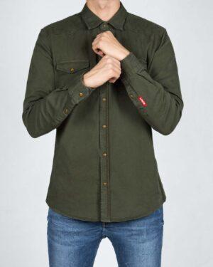 پیراهن مردانه کتان آستین بلند - یشمی - رو به رو