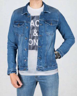 کت جین مردانه آستین بلند- آبی- جلو باز