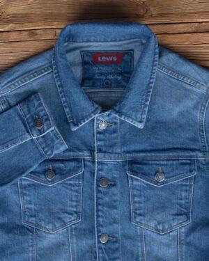 کت جین مردانه آستین بلند- آبی- یقه و جیب