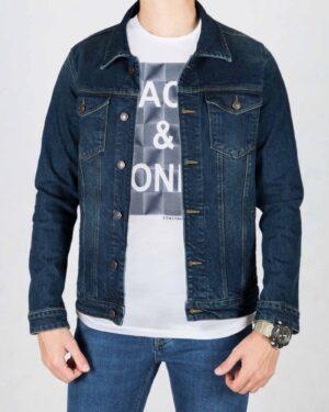 کت جین مردانه آستین بلند- سرمه ای تیره- جلو باز