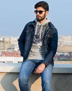 کت جین مردانه آستین بلند- سرمه ای تیره- مردانه