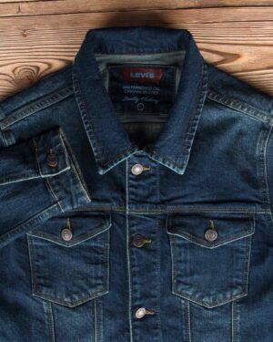 کت جین مردانه آستین بلند- سرمه ای تیره- یقه و جیب
