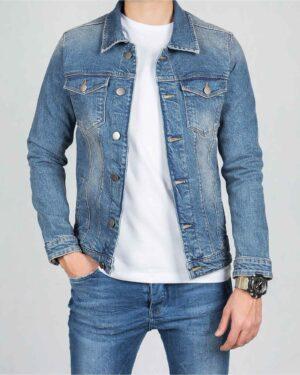 کت جین مردانه اسپرت ساده - آبی روشن - استایل رو به رو