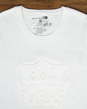 تیشرت اسپرت طرح برجسته پلیس - سفید - یقه گرد طرح برجسته