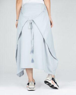 دامن اسپرت نخی دخترانه - آبی آسمانی - تنظیم با بند پشت