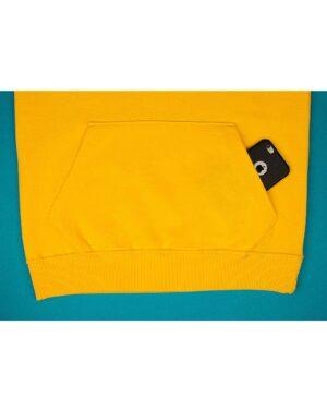 هودی نخ پنبه ای اسپرت مردانه - زرد - هودی جیب دار