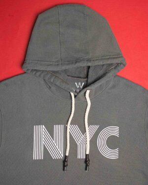 هودی نخ پنبه ای دخترانه - خاکستری - کلاه و طرح NYC