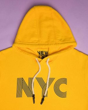 هودی نخ پنبه ای دخترانه - زرد - کلاه و طرح NYC