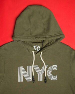 هودی نخ پنبه ای دخترانه - زیتونی - کلاه و طرح NYC