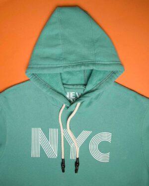 هودی نخ پنبه ای دخترانه - سبز آبی - کلاه و طرح NYC