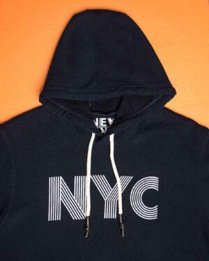 هودی نخ پنبه ای دخترانه - سرمه ای تیره - کلاه و طرح NYC
