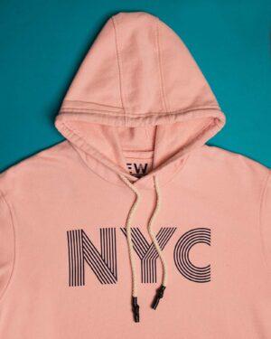 هودی نخ پنبه ای دخترانه - صورتی - کلاه و طرح NYC