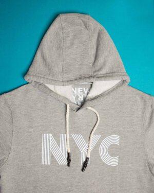 هودی نخ پنبه ای دخترانه - طوسی کمرنگ - کلاه و طرح NYC