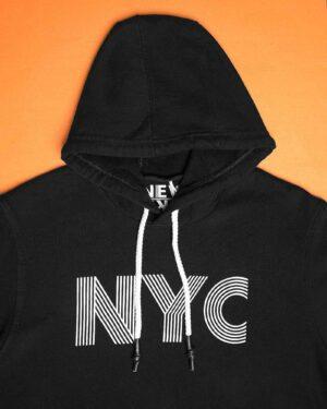 هودی نخ پنبه ای دخترانه - مشکی - کلاه و طرح NYC