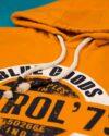 هودی نخ پنبه ای طرح دار مردانه - نارنجی- بنددار