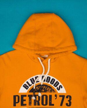 هودی نخ پنبه ای طرح دار مردانه - نارنجی - طرح و کلاه