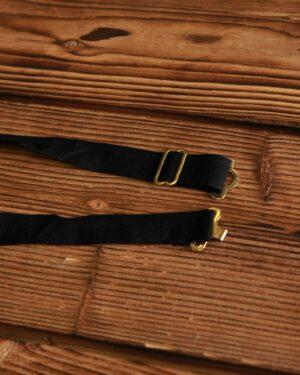 پاپیون ساتن مشکی طلایی مردانه - مشکی - بند