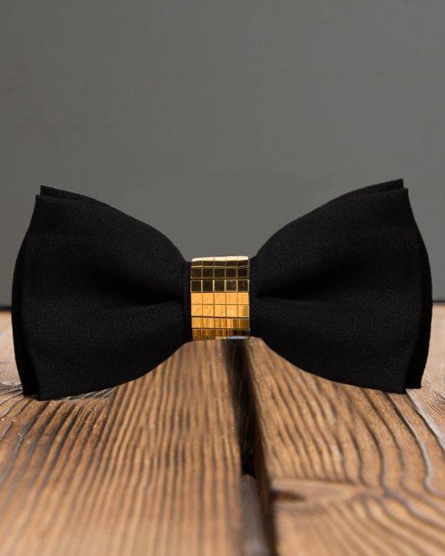 پاپیون ساتن مشکی طلایی مردانه - مشکی - رو به رو