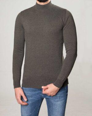 پلیور بافت مردانه آستین بلند ساده - خاکستری - رو به رو