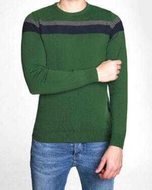 پلیور بافت نازک طرحدار مردانه - سبز - رو به رو