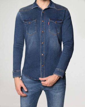 پیراهن مردانه جین آستین بلند - آبی تیره - رو به رو