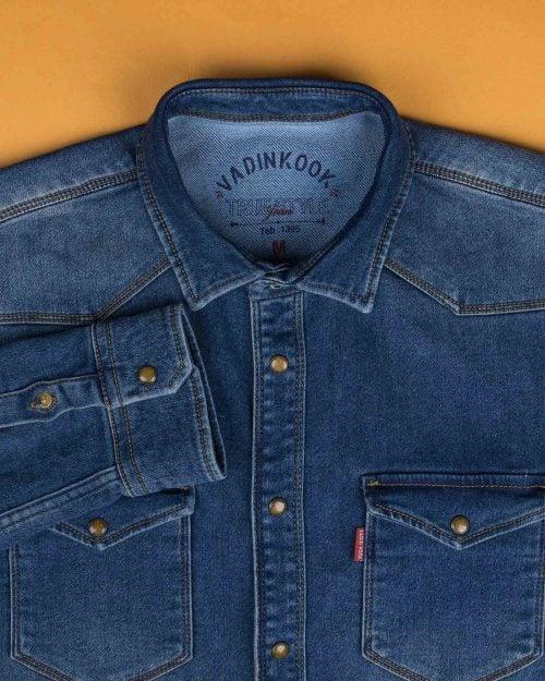 پیراهن مردانه جین آستین بلند - آبی تیره - پیراهن جیب دار وادین کوک