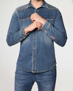 پیراهن مردانه جین آستین بلند - آبی - رو به رو
