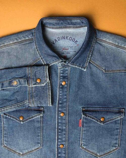 پیراهن مردانه جین آستین بلند - آبی - پیراهن جیب دار وادین کوک