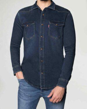 پیراهن مردانه جین آستین بلند - آبی کاربنی - رو به رو