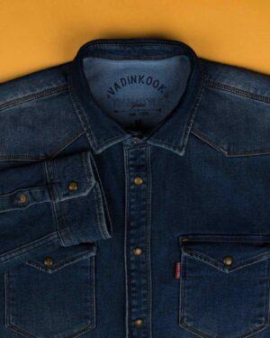 پیراهن مردانه جین آستین بلند - آبی کاربنی - پیراهن جیب دار وادین کوک