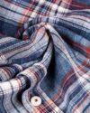 پیراهن مردانه جین چهارخانه - آبی قرمز - جین طرحدار