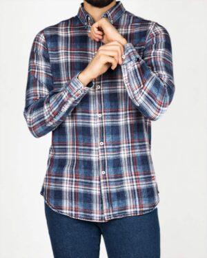 پیراهن مردانه جین چهارخانه - آبی قرمز - رو به رو