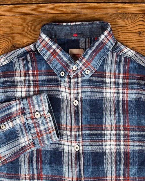 پیراهن مردانه جین چهارخانه - آبی قرمز - یقه مردانه