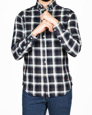پیراهن مردانه جین چهارخانه - دودی سفید - رو به رو