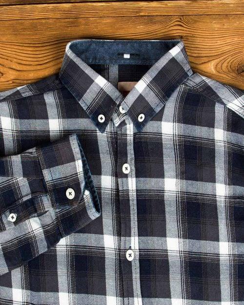 پیراهن مردانه جین چهارخانه - دودی سفید - یقه مردانه