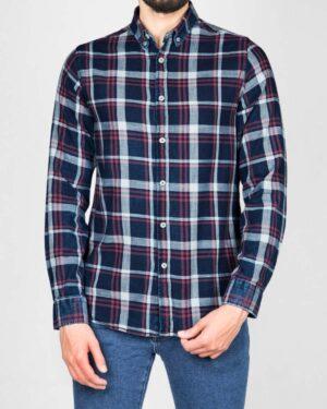پیراهن مردانه جین چهارخانه - سرمهایتیره سفید قرمز - رو به رو