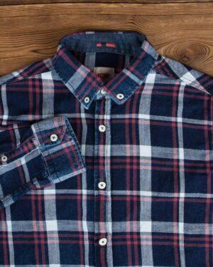 پیراهن مردانه جین چهارخانه - سرمهایتیره سفید قرمز - یقه مردانه