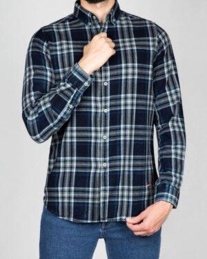 پیراهن مردانه جین چهارخانه - سرمهای تیره سفید - رو به رو