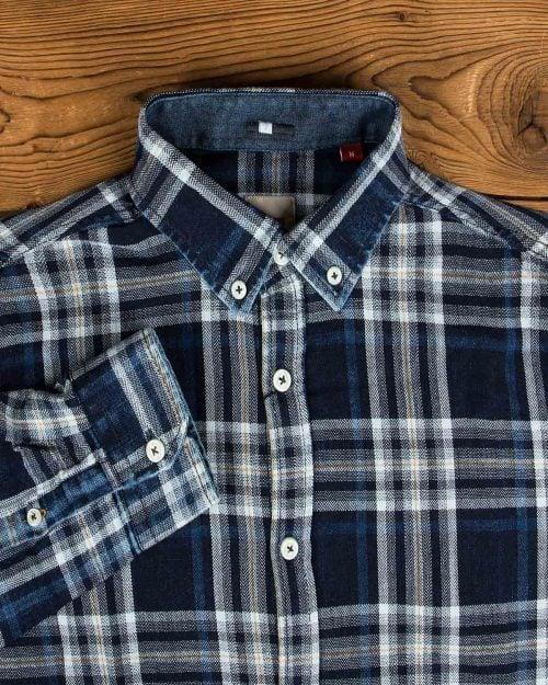 پیراهن مردانه جین چهارخانه - سرمهای تیره سفید - یقه مردانه