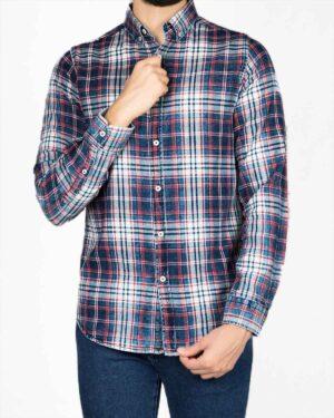 پیراهن مردانه جین چهارخانه - سرمهای سفید قرمز - رو به رو