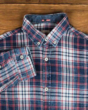 پیراهن مردانه جین چهارخانه - سرمهای سفید قرمز - یقه مردانه