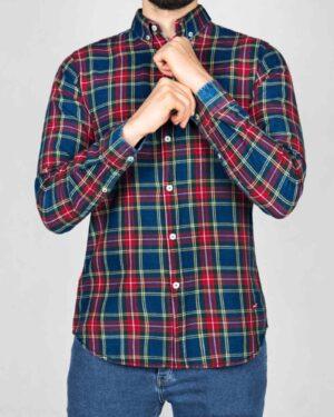 پیراهن مردانه جین چهارخانه - سرمهای قرمز - رو به رو