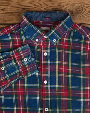 پیراهن مردانه جین چهارخانه - سرمهای قرمز - یقه مردانه