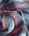 پیراهن مردانه جین چهارخانه - سفید زرشکی - جین طرحدار