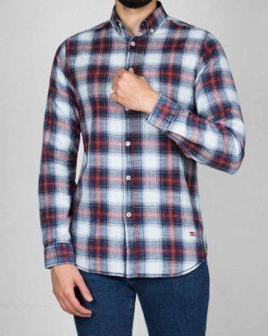 پیراهن مردانه جین چهارخانه - سفید زرشکی - رو به رو