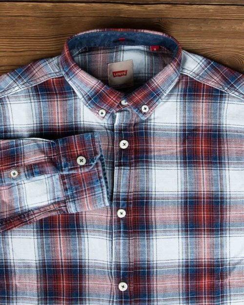 پیراهن مردانه جین چهارخانه - سفید زرشکی - یقه مردانه