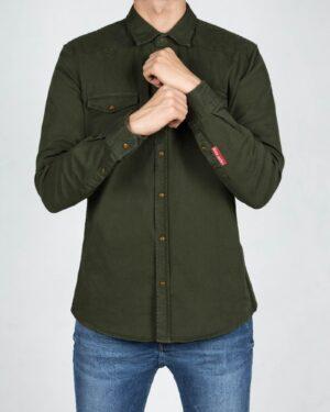 پیراهن کتان ساده مردانه - یشمی پررنگ - رو به رو